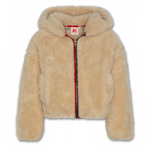 wide hoodie full zip fur logo